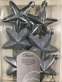 DECORIS Decoris 6x Ster Zilver Onbreekbaar 7.5cm Transbo